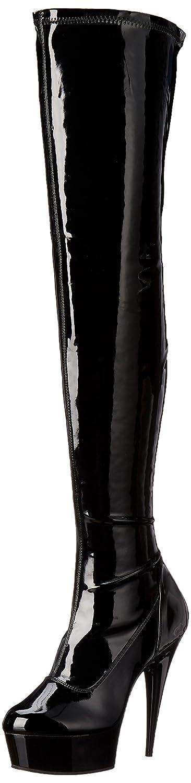 Pleaser Women's Delight-3000 Boot B000ZJMXHO 8 B(M) US|Black Patent/Black