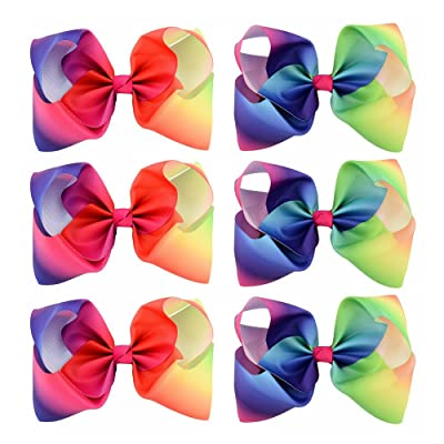 6pcs/lot 8 Inch Large Kids Baby Girl Grosgrain Ribbon Bow Clips Rainbow Children Hair Accessories