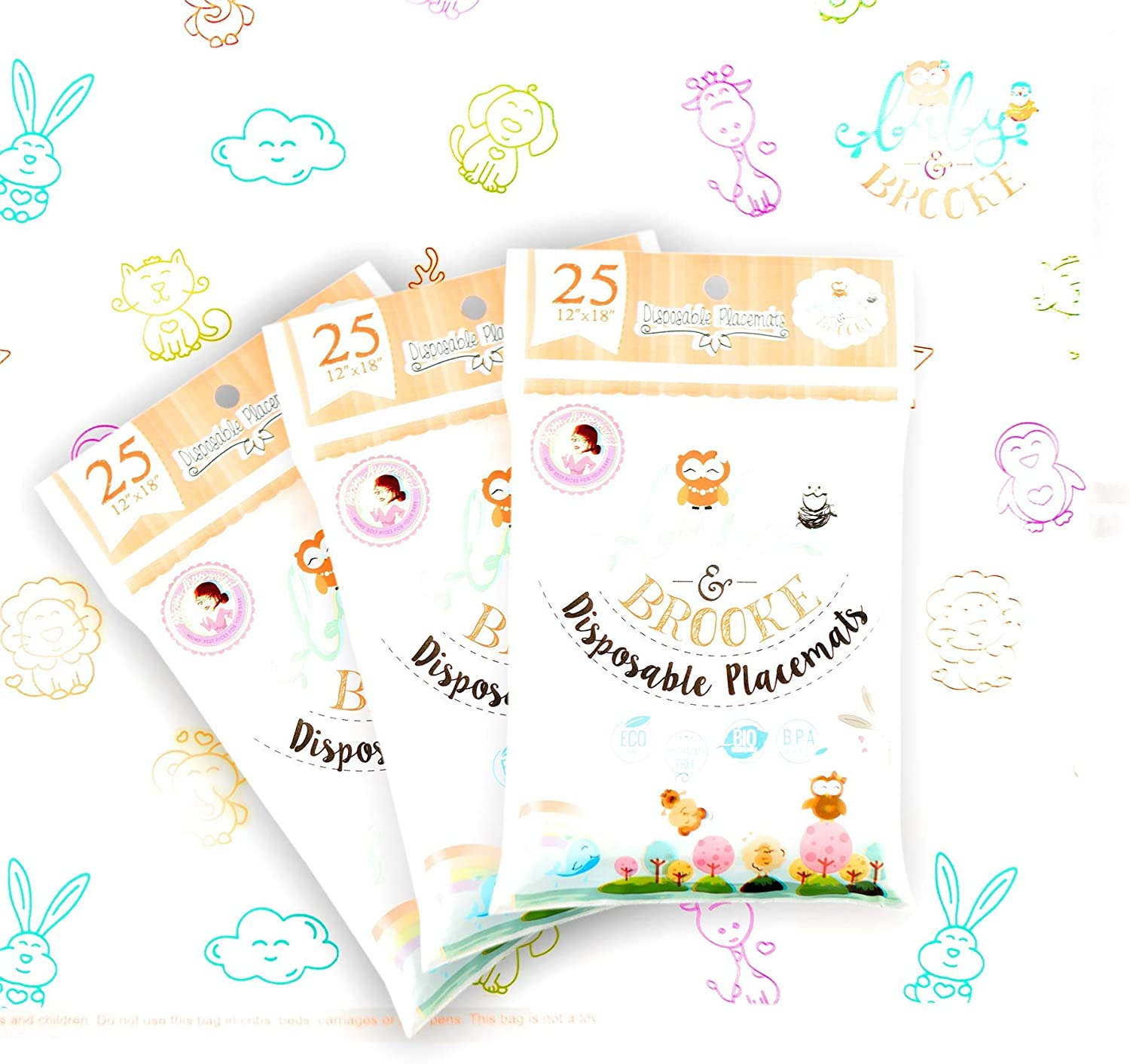 Baby and Brooke 75 SUPER STICKY Disposable Placemats for Babies - Protects Kids Against Germs and Bacteria - Easy to Pack, Apply and Remove - 3 Resealable Bags of 25 Table Placemats
