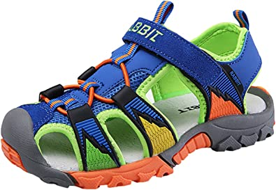 DADAWEN Baby Boys Girls Summer Soft Sole Closed-Toe Outdoor Leather Athletic Sandals