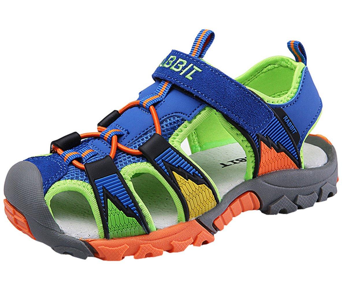 DADAWEN Boy's Girl's Summer Breathable Athletic Closed-Toe Strap Sandals (Toddler/Little Kid/Big Kid) Blue US Size 10 M Toddler