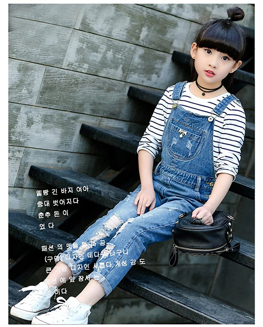 Girls Big Kids Cute Long Distressed Denim Overalls Blue Jeans BF Style Suspender Shortall 120 Blue 4-5 Years N01aa-58