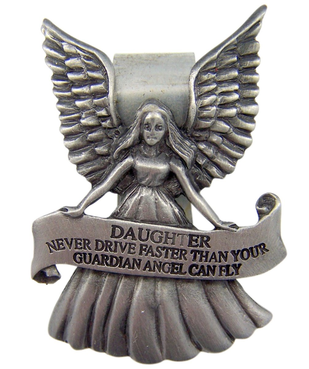 2 1//2 Inch Singer Co Fine Pewter Guardian Angel Daughter Car Auto Visor Clip