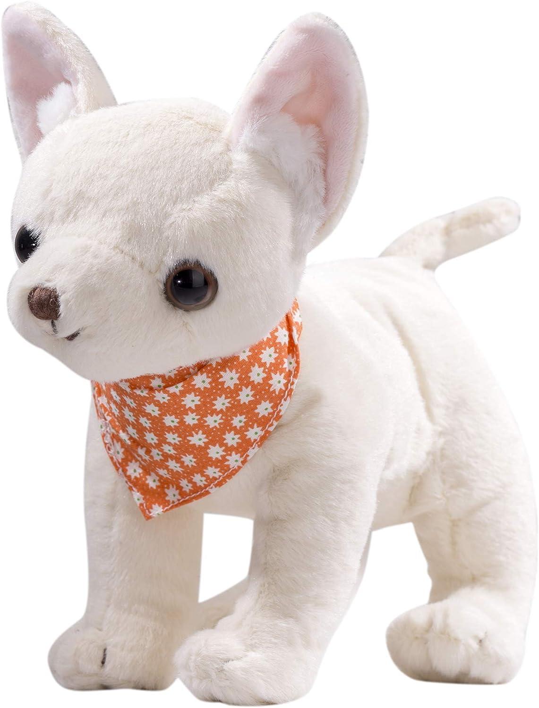 Dilly dudu Cream Puppy Dog Stuffed Animal Chihuahua Plush Toy 10-Inch