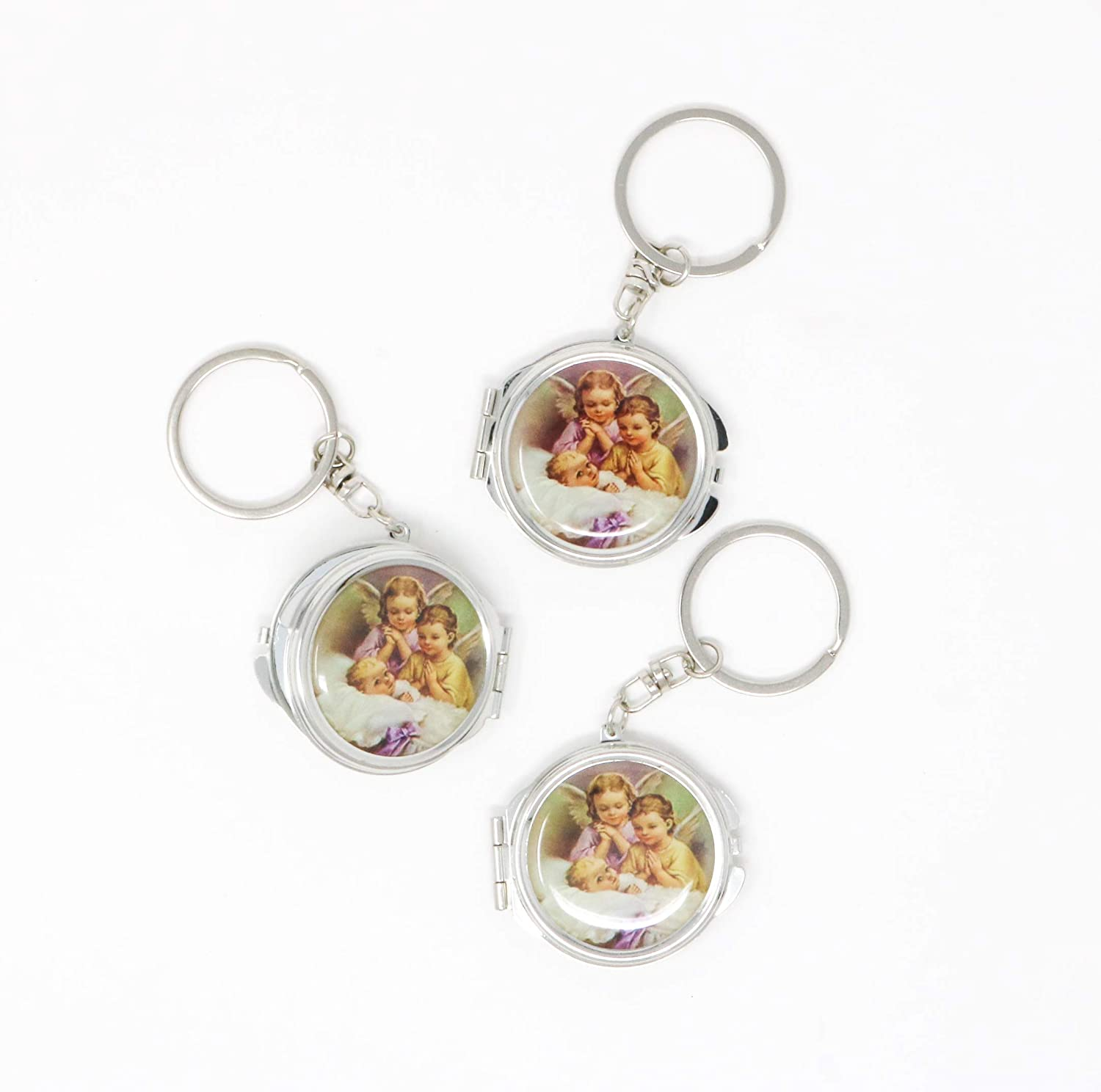 12 Piece New Baptism Mini Compact Mirror Key Chain Party Favor for Boys and Girls - Bautizo...