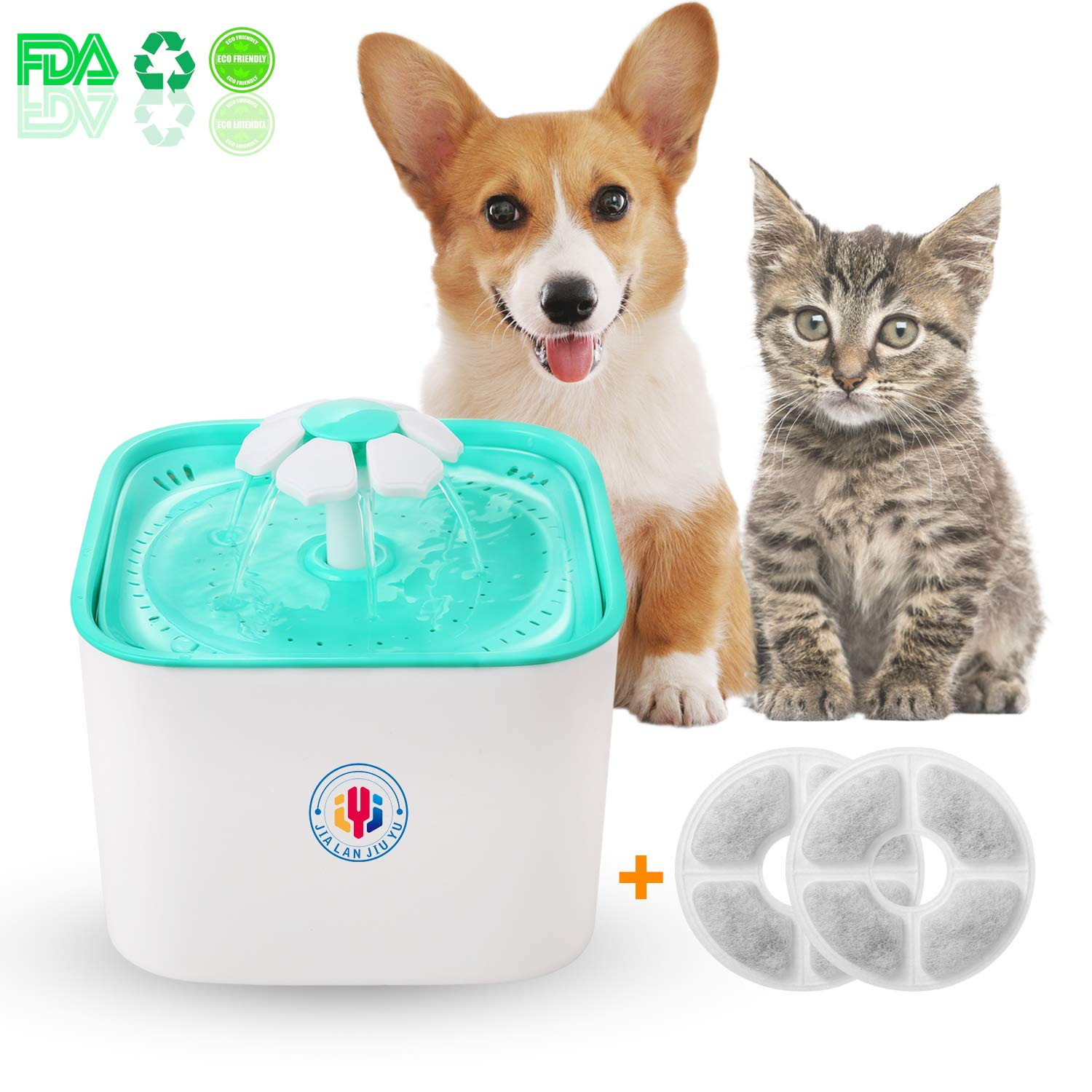 Pet Water Fountain Cat's Dogs Water Dispenser Healthy and Hygienic Drinking Fountain 2L Super Quiet Flower Automatic Electric Water Bowl with 2 Replacement Filters for Dogs Cats Birds and Small Animal