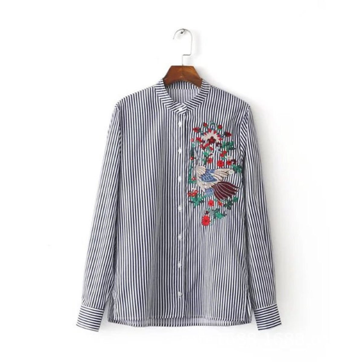 LQABW Mujer Otoño Nueva Blusa Azul Y Blanco Rayas Bordado Stand Collar Camisa De Manga Larga