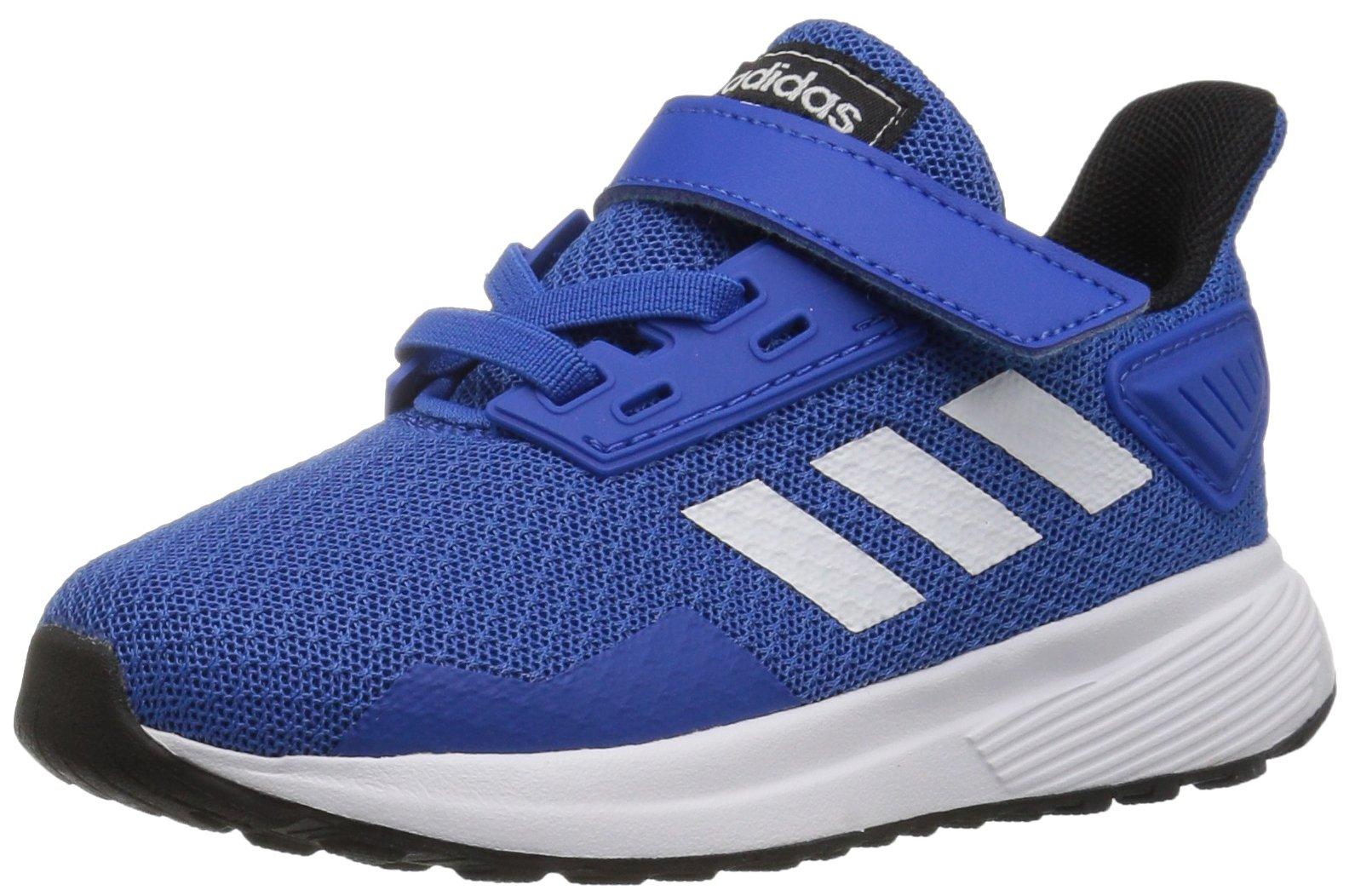 adidas Performance Unisex-Kids Duramo 9 Running Shoe, Blue/White/Black, 1.5 M US Little Kid