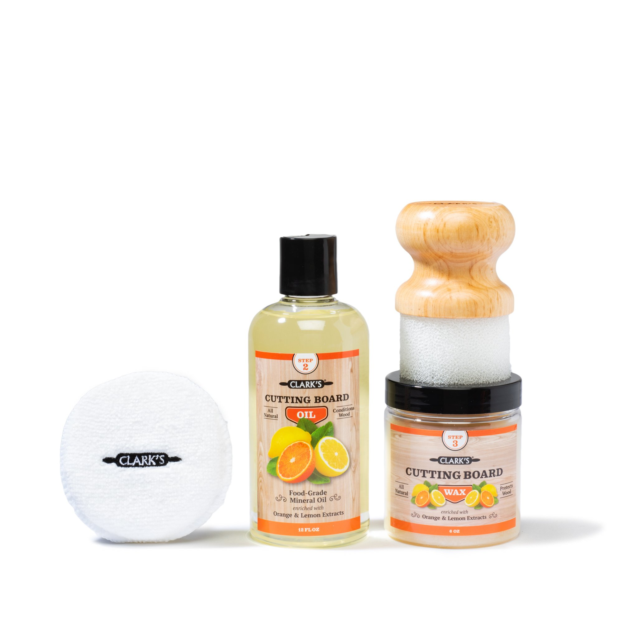 CLARK'S Cutting Board Finishing Kit | Orange-Lemon Scent | CLARK'S Cutting Board Oil (12 oz) - Cutting Board Wax (6oz) - Small Applicator - Buffing Pad by CLARKS
