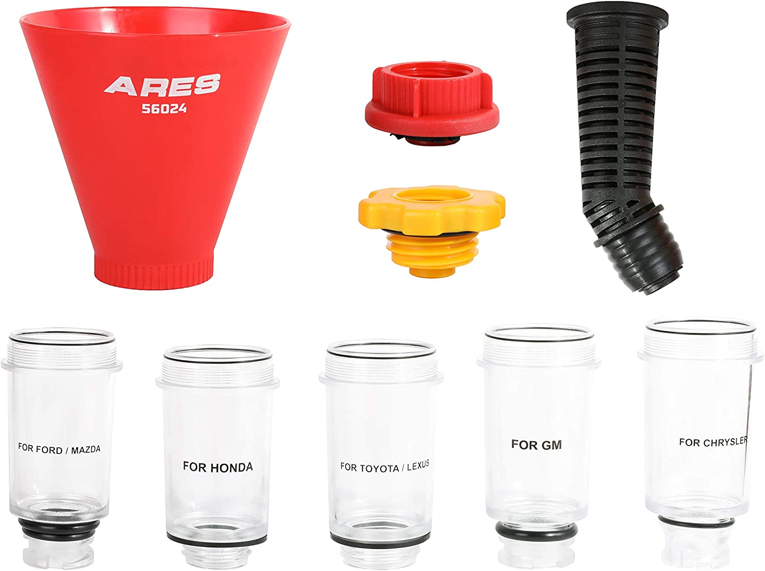Easy to Use 1-Person Design Fits Most Popular Vehicles in North America Spill-Free Oil Filling ARES 56024-9-Piece Oil Funnel Kit