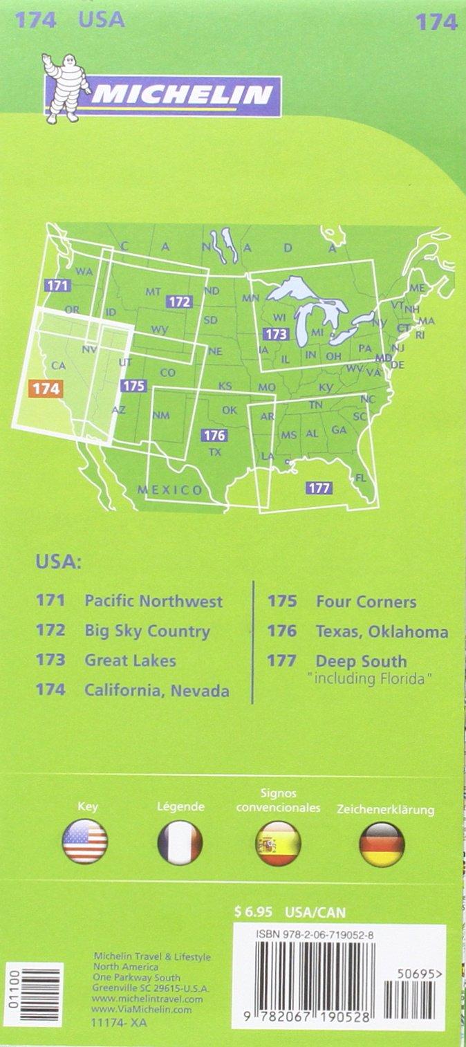 michelin usa california nevada map 174 amazoncouk michelin 9782067190528 books