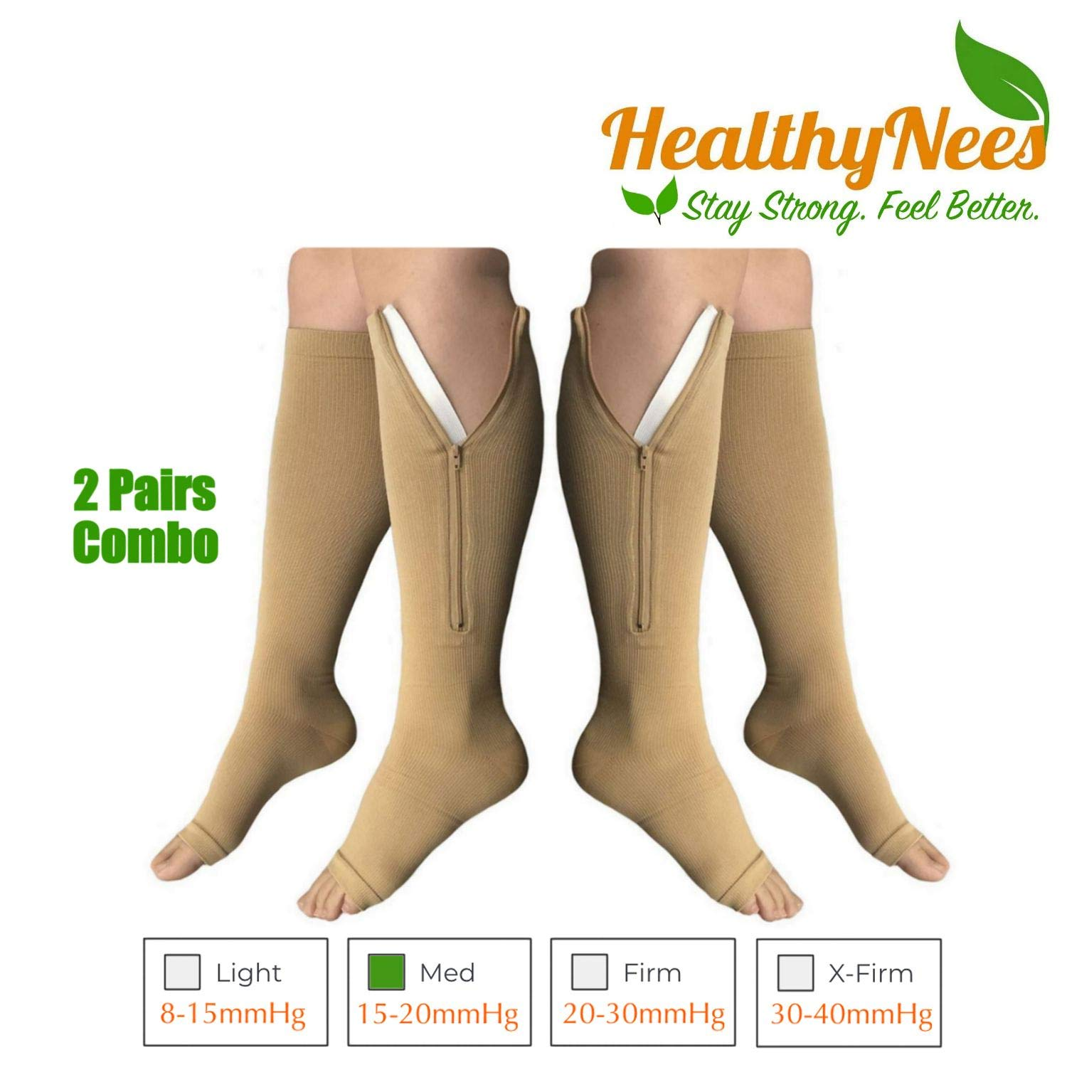 eed2795bbc0 Amazon.com  HealthyNees 2 Pairs Combo Zipper Compression Medical Grade Leg  Calf Relief Swelling Circulation Support Socks (2XL)  Health   Personal Care