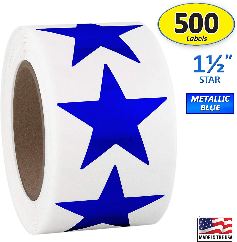 50 Shiny Foil Star Patriotic Stickers Teacher Supply USA Red Sliver Blue