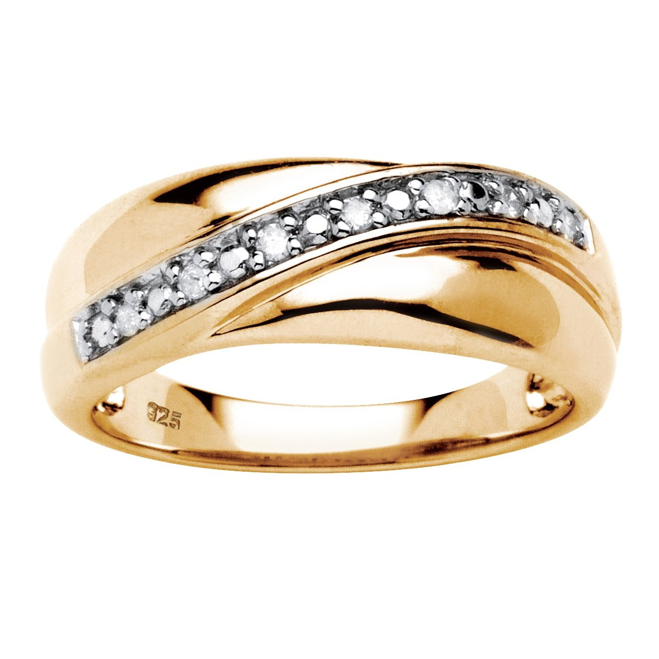 Men's 18K Gold over Sterling Silver 1/10 cttw Round Diamond Wedding Band Ring (HI Color, I3 Clarity) Size 11 by Palm Beach Jewelry