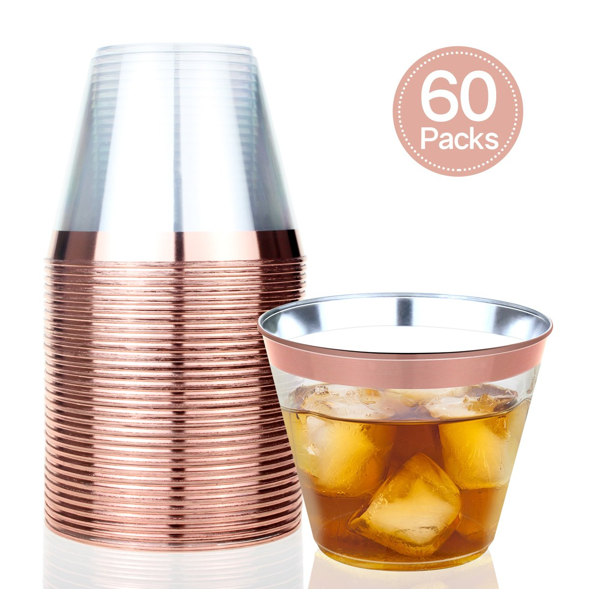Rose Gold Plastic Cups,9 Oz Clear Plastic Cups Fashioned Tumblers Fancy Disposable Hard Party Wedding Cups Elegant Party Cups with Rose Gold Rim (60 Pack)