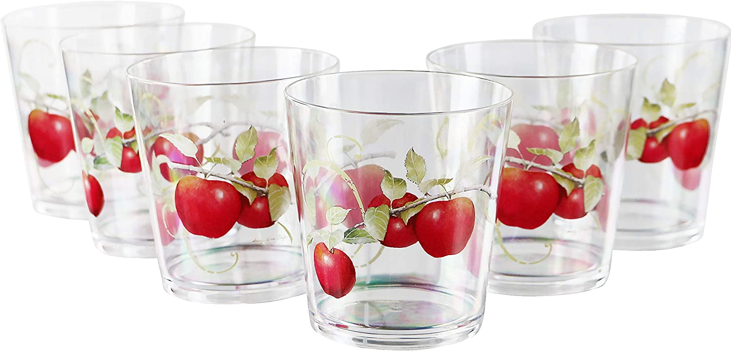 Reston Lloyd Drinkware Harvest Apple Collection by Sandy Clough Acrylic Stemless Wine Glasses, 16-Ounce, Set of 4, 16 oz, Clear