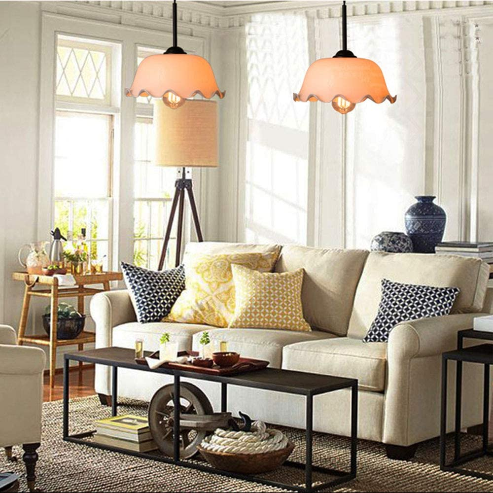 Decorative Ceiling Light Fixture Vintage Plug in Glass Pendant Light NWLAMP American Classical Pendant Lighting Hanging Light Fixture for Bedroom Dining Room Resturant Bar Kitchen Island