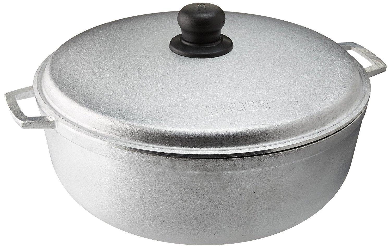 IMUSA USA GAU-80506W Cast Aluminum Caldero 6.9-Quart (30cm), Silver