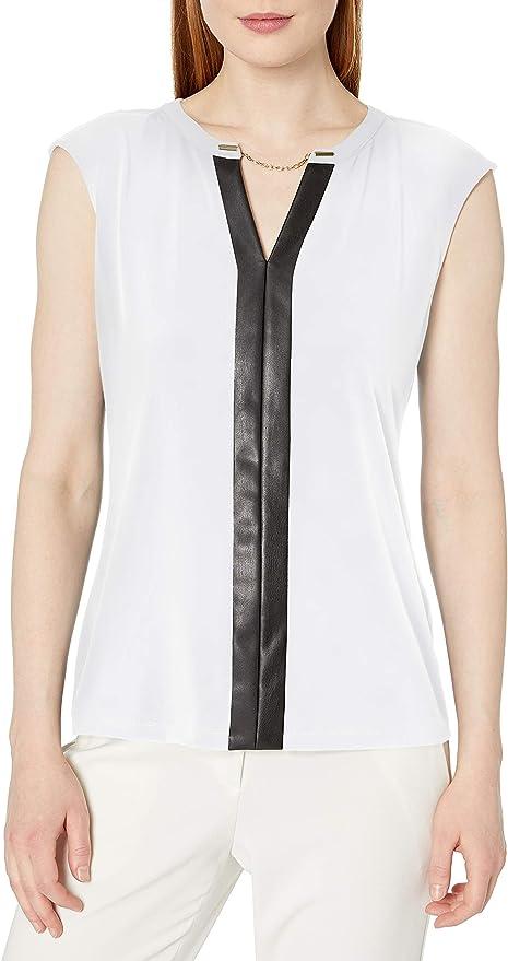 Calvin Klein 卡尔文克莱因 CK 女式V领雪纺衫 4折$19.8 海淘转运到手约¥155