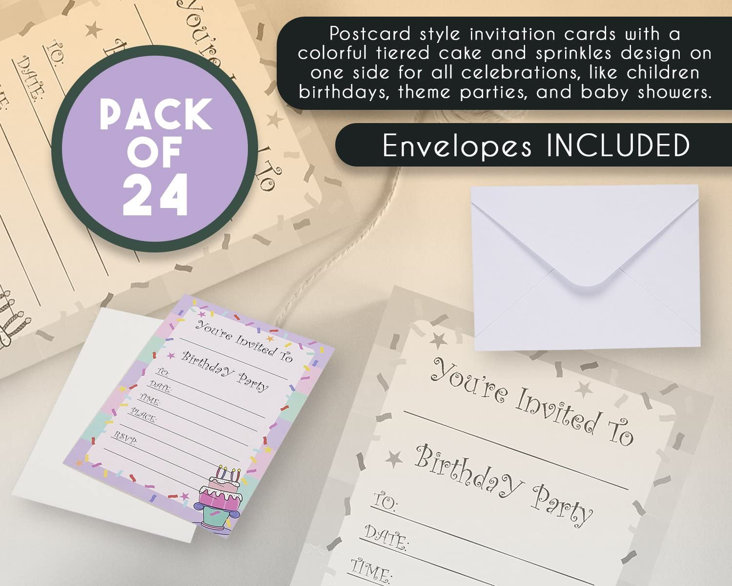 Invitation Cards Children/'s Birthday Cinema Incl Envelopes and Gift Bags