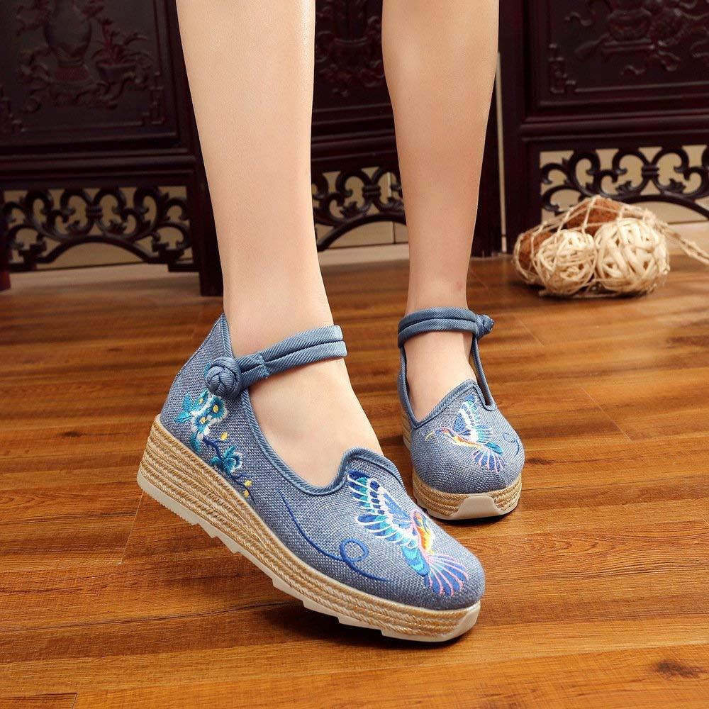 Eeayyygch Chaussures brodées, Lin, Semelle Tendon, Style Ethnique, Chaussures féminines augmentées, Mode, Confortable, désinvolte, Bleu, 37 (coloré : -, Taille : -)