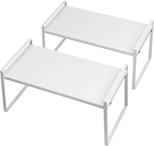 Beeloving 2Pack Stackable Cabinet Shelf Organizer Storage Rack for Countertop Desk Kitchen Bathroom Pantry Cupboard Home Office for Spice Dish Cup Bottle Pot Metal Plate Heavy Duty Nonslip White