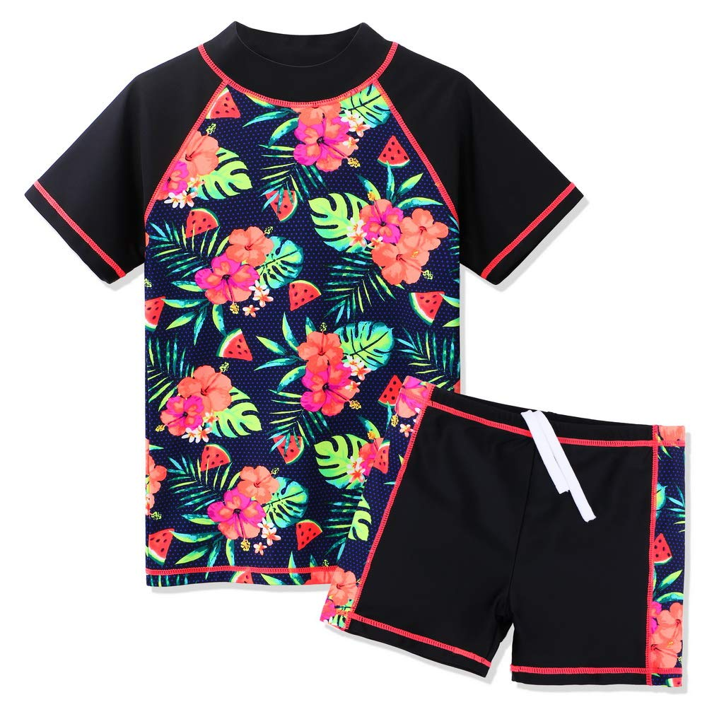TFJH E Kids Girls Swimsuits UPF 50 Tankini Rash Guard Suit Two Piece Butterfly Print Swimwear 4-12Y