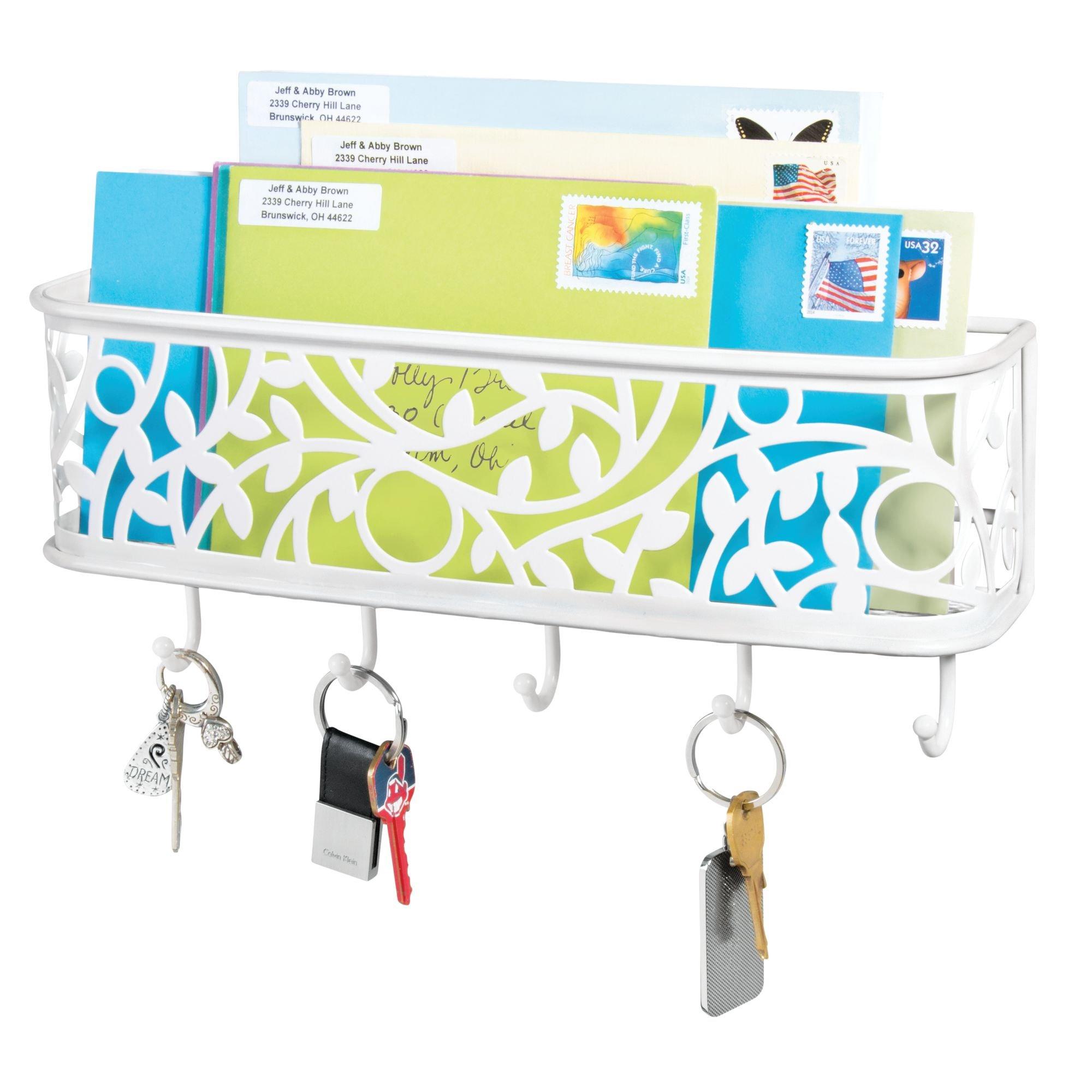 mDesign Wall Mounted Metal Decorative Hanging Entryway Kitchen Mail Holder Storage Station and Keys Rack Organizer - Matte White