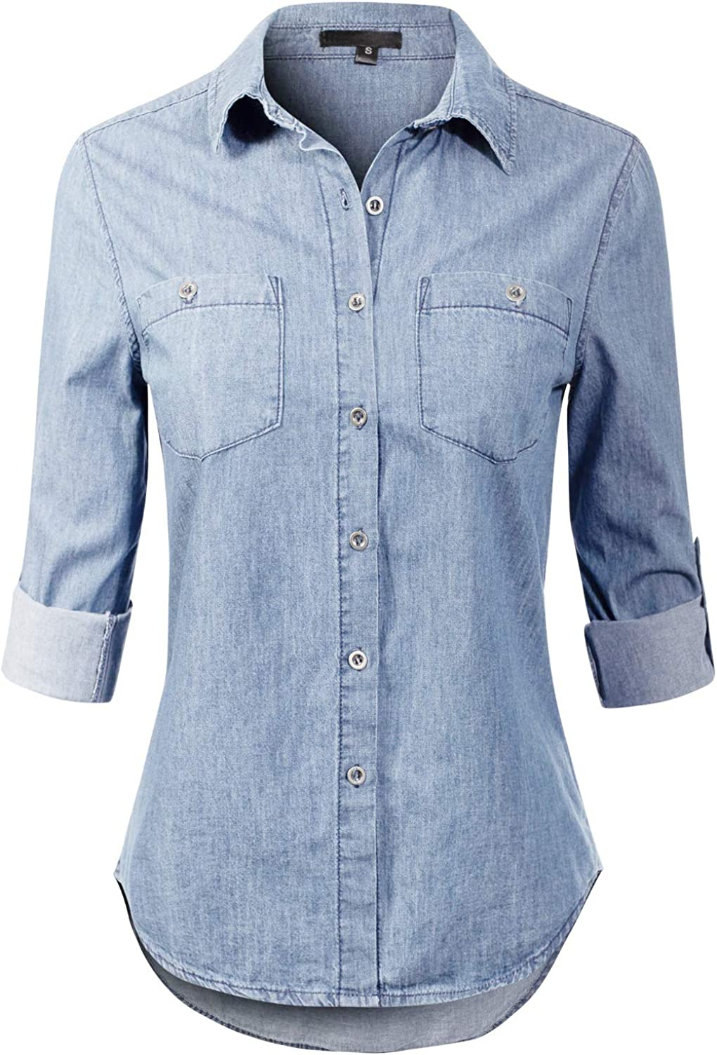 Design by Olivia Women's Basic Classic Roll up Sleeve Button Down Chambray Denim Shirt: Clothing
