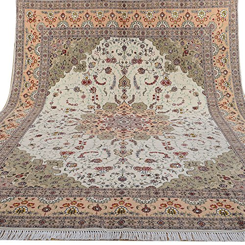 Yilong 9'x12′ Handmade Persian Wool Silk Rug Tabriz Floral Hand Knotted Oriental Carpet Home Decor (9-Feet-by-12-Feet…