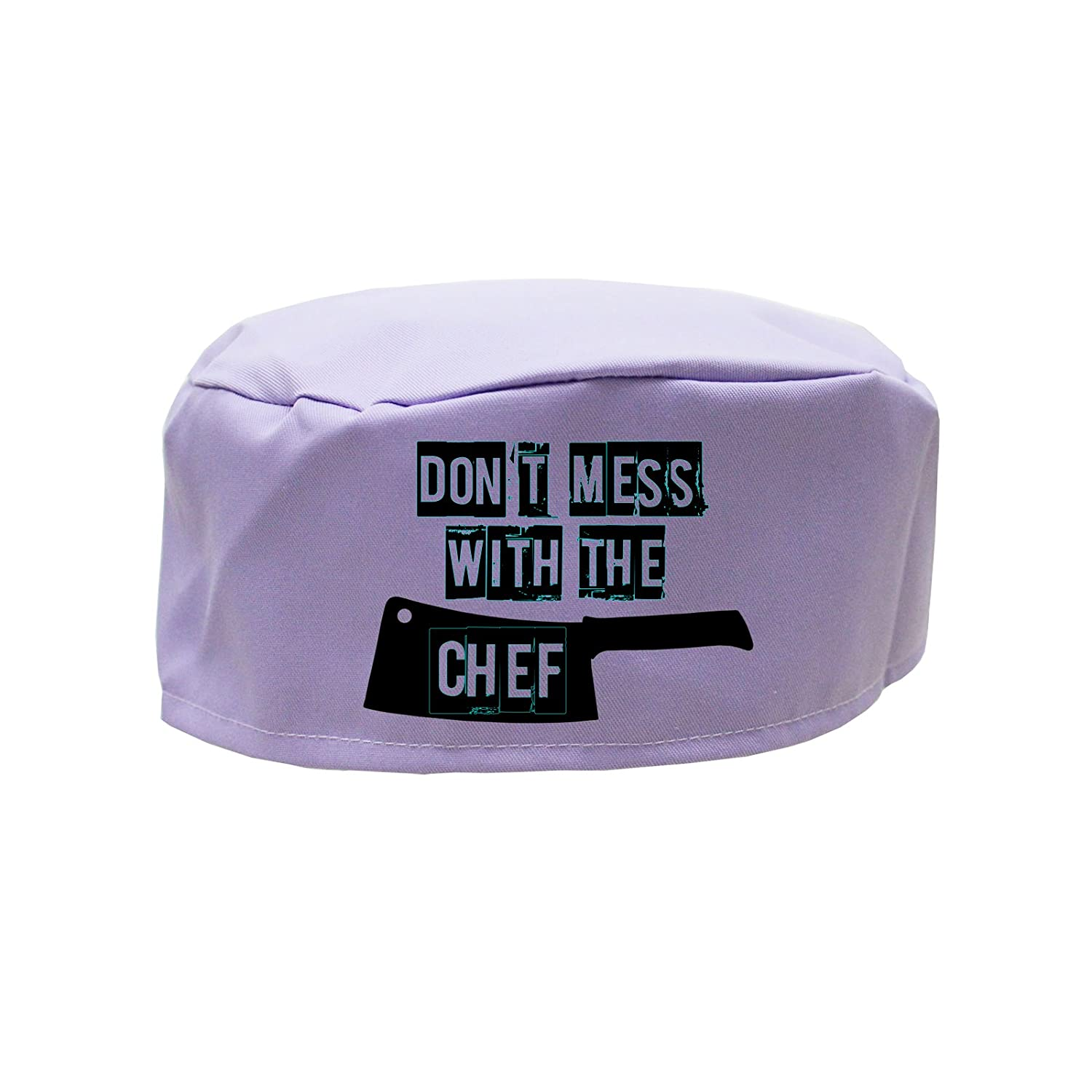 Cappello da chef con scritta in inglese 'Don't mess with the chef' (versione italiana non garantita), spiritosa idea regalo per uomo, donna o bambino, Cotone, Lilac, Adulti cookify