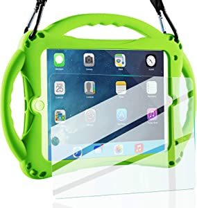 TopEsct iPad Mini Case Kids Shockproof Handle Stand Cover&(Tempered Glass Screen Protector) for iPad Mini, Mini 2, Mini 3 and iPad Mini Retina Models (Green)