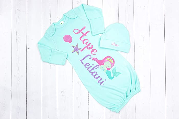 8c236529efa18 Image Unavailable. Image not available for. Color: New Baby Girl's Mint  Mermaid Personalized Infant Gown with Hot Pink and Purple Coming Home Outfit