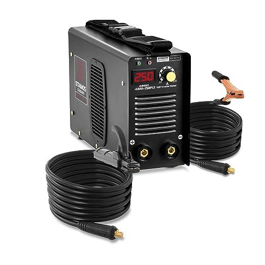 Stamos Germany Soldador Inverter Soldadora Equipo de Soldadura Electrodo MMA (250 A, Cables de soldadura de 8 m, Hot Start, Inverter IGBT, Electrodos de ...