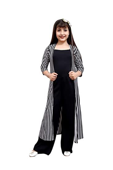 Oriex Jumpsuit for Kids Girls with Shrug Striped: Amazon.in: Clothing &  Accessories