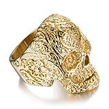 Amazon Price History for:AUMRET Halloween Titanium Steel Men Personality Skull Gold Ring