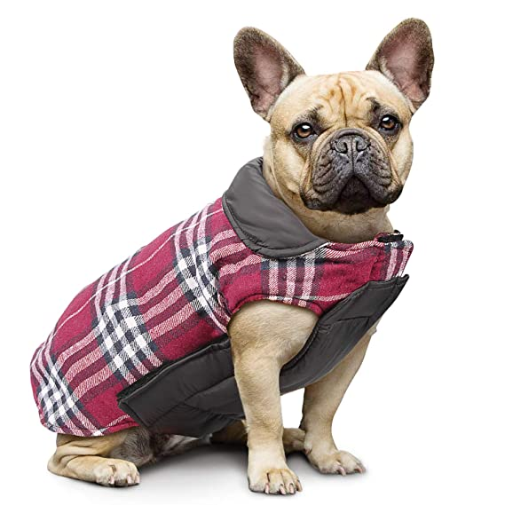 IREENUO Pet Dog Jackets Windproof Warm Coats - Snug British Style Plaid Reversible Vest Clothes Autumn Winter Padded Waistcoat Chest Protector Suitable for Small Medium Large Dogs, XS-3XL