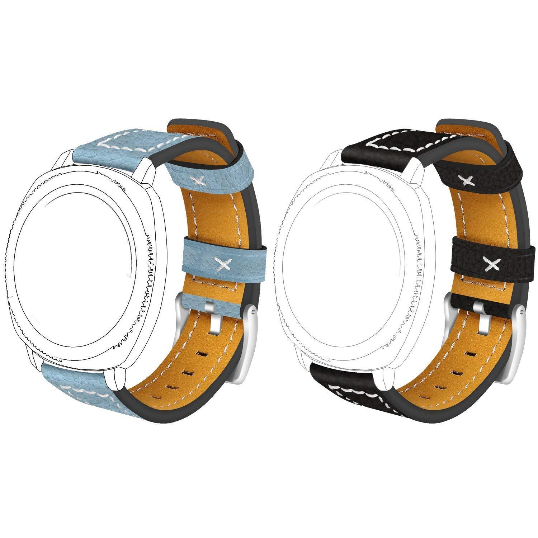 ECSEM - 2 Correas de Repuesto de Piel Cosida para Reloj ...