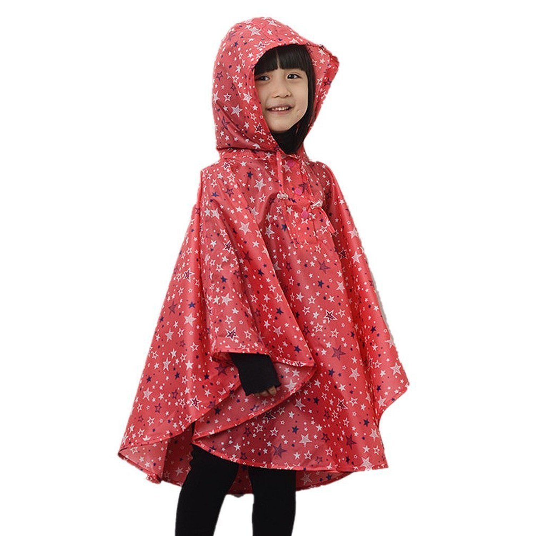 Kid Toddler Girls Raincoat Stars Poncho Waterproof Hooded Rainwear LZ-TZ-40