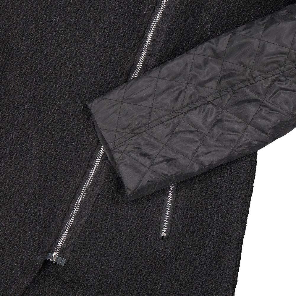 Froomer Women Patchwork Wool PU Leather Long Sleeve Jacket Coat with Side Zipper Pocket Outwear Tops
