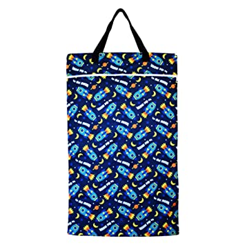 Large Hanging Wet Dry Bag for Baby Cloth Diapers or Laundry (Spaceship)