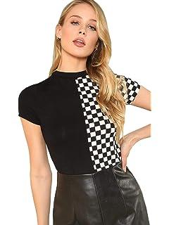 b11a88fd SheIn Women's Checkered Colorblock Crewneck Short Sleeve Tee T-Shirt Top