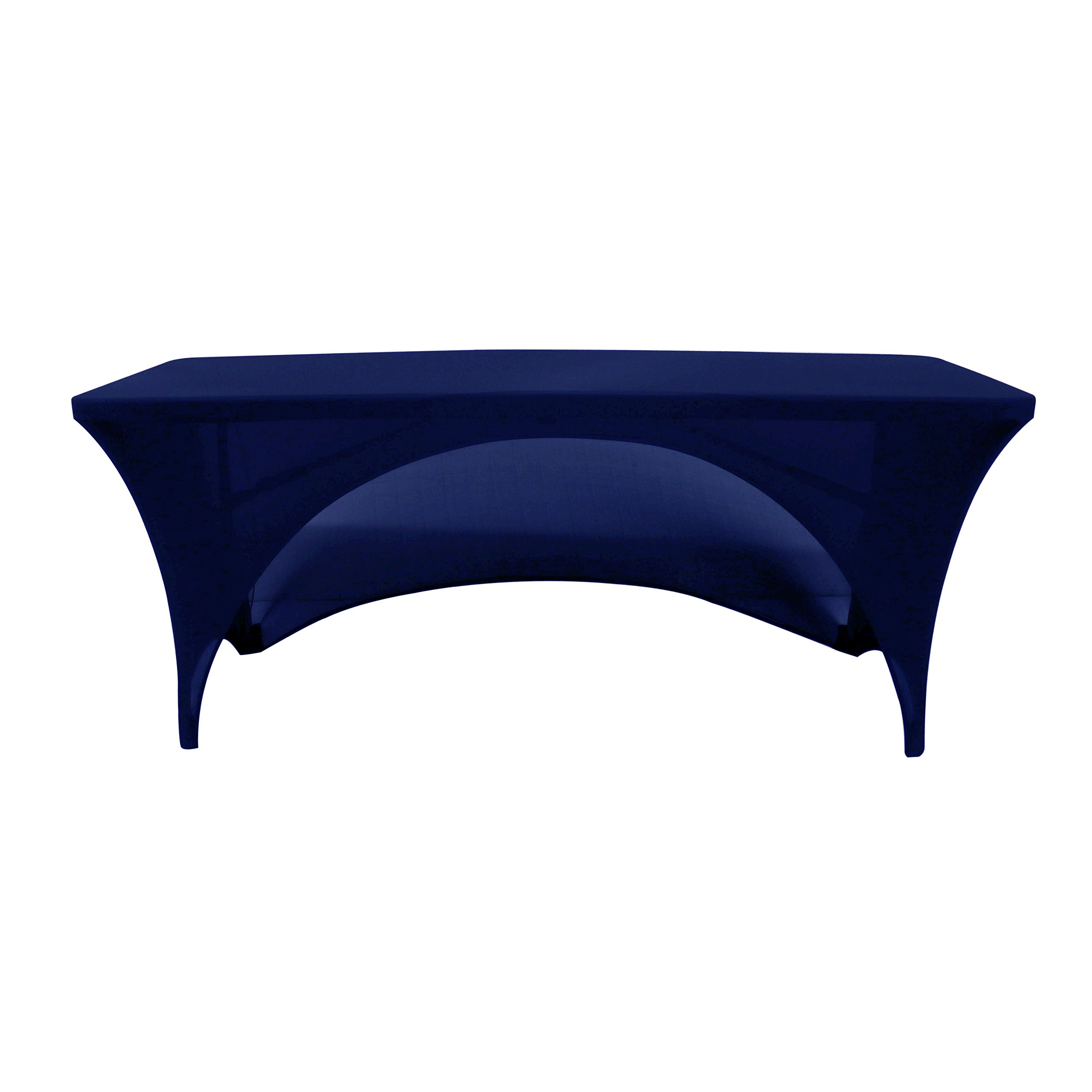 Your Chair Covers - 6 Ft Rectangular Open Back Stretch Tablecloth - Navy Blue