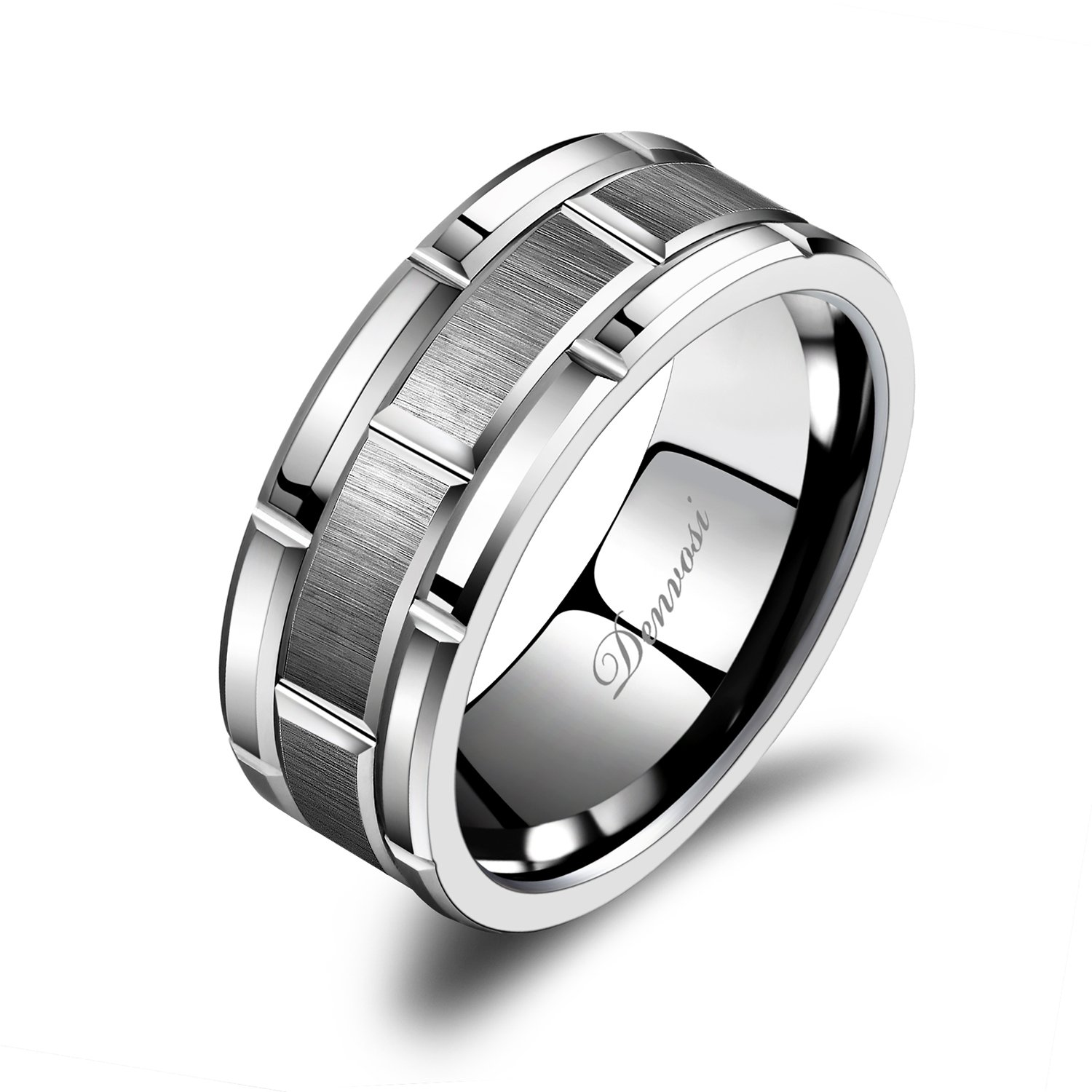 Denvosi Men Wedding Band Tungsten Ring 8MM Brick Pattern Matte Brushed Silver Surface Engagement Anniversary Ring Comfort Fit Size 6-14.5