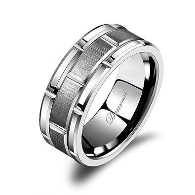 Denvosi Men Wedding Band Tungsten Ring 8MM Brick Pattern Matte Brushed Silver Surface Engagement Anniversary