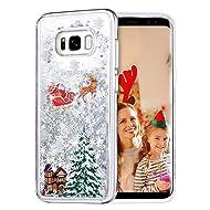 Galaxy S8 Case, Caka Galaxy S8 Glitter Case Luxury Fashion Bling Flowing Liquid Floating Sparkle Glitter TPU Bumper Christmas Case for Samsung Galaxy S8 - (Clear Silver)