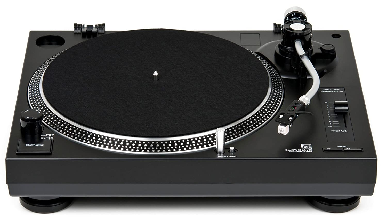 Dual DTJ 301.1 USB - Tocadiscos para DJ (33/45 U/min, control de velocidad, sistema fonocaptor magnético, iluminación de agujas, cable USB)