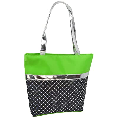1PerfectChoice Girl's Dance Bag Laser Sequined With Silver Metallic, Green/Black