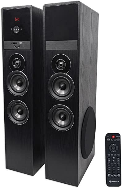 Amazon Com Rockville Tm80b Black Home Theater System Tower Speakers 8 Sub Bluetooth Usb Home Audio Theater