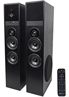 Rockville TM80B Bluetooth Home Theater Tower Speaker System W 2 8 Subwoofers